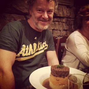 Dad enjoying some Haggis, Neeps & Tatties.